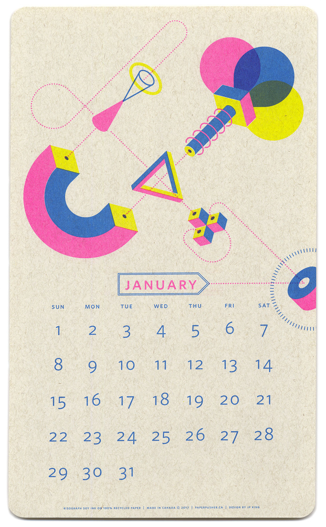 Calendario isometrico 2017 - © Paper Pusher