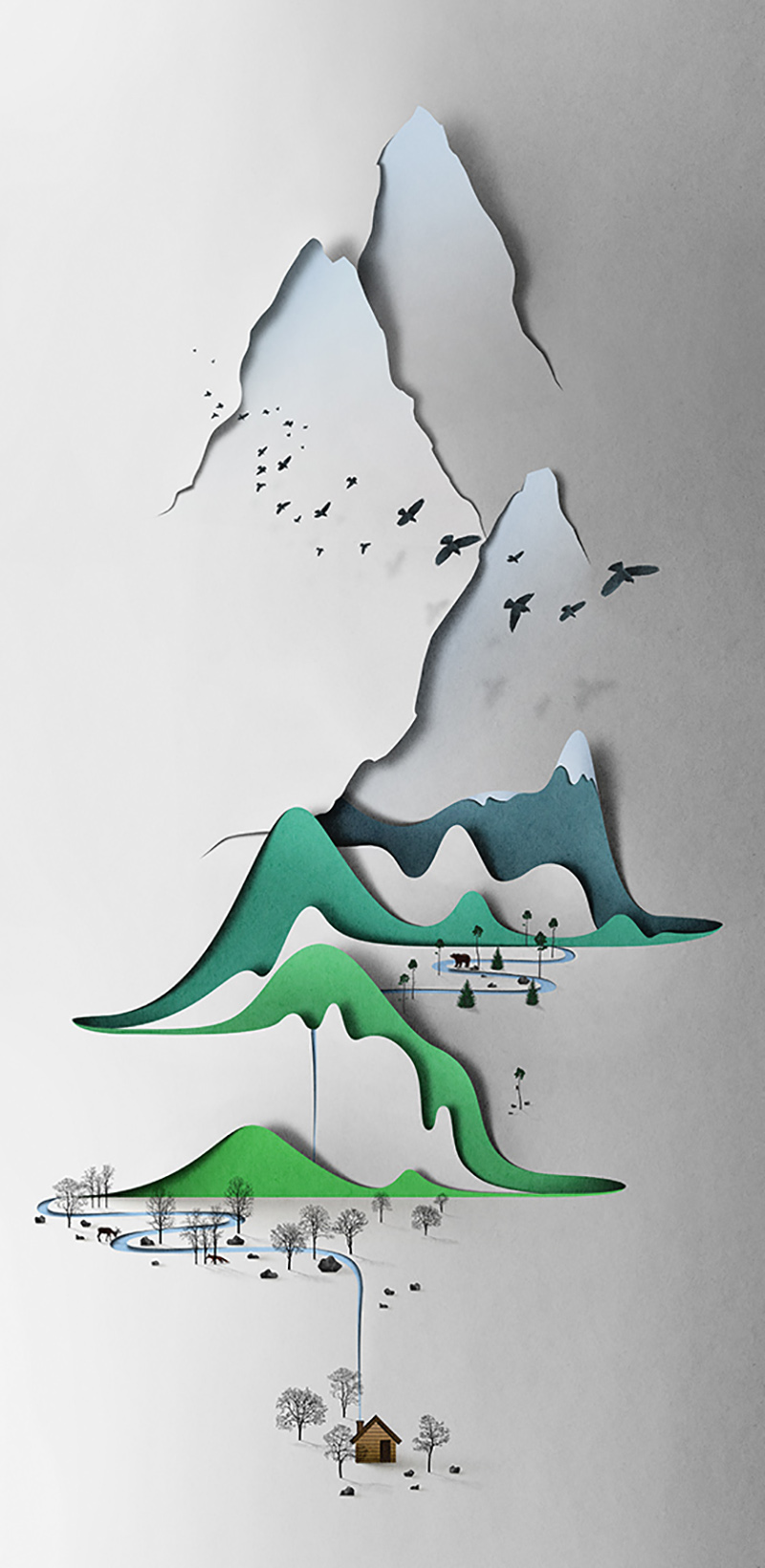 Digital Papercut Illustration - Eiko Ojala